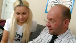 Fair-haired coed is attentively listening to a horrible disobedient guy